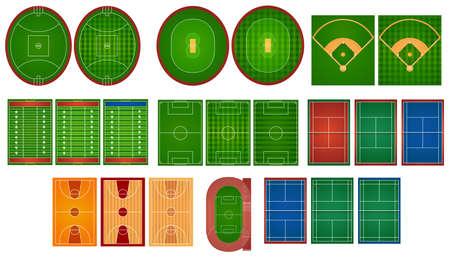 terrain de foot: Sport tribunaux et champs illustration