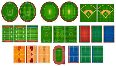 Sport courts and fields illustration Illustration