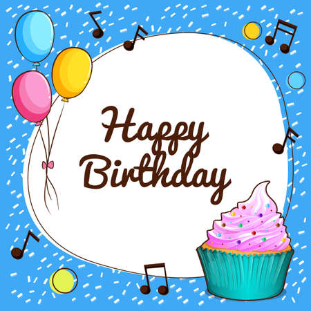 birthday cakes: Happy Birthday theme with cupcake and balloons illustration Illustration