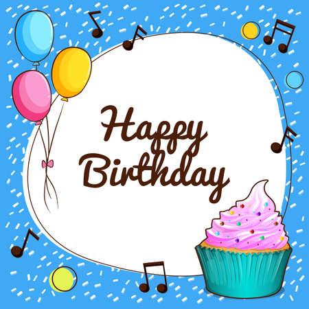 tortas de cumpleaños: Tema feliz cumpleaños con la magdalena y globos ilustración Vectores