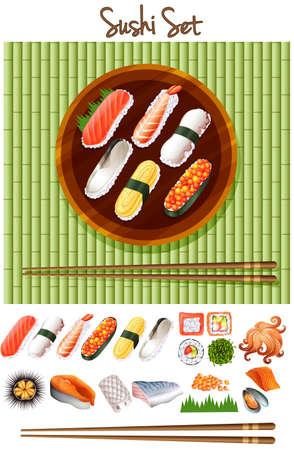 sushi  plate: Different kind of sushi roll illustration Illustration
