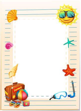 diving board: Border design with summer theme illustration