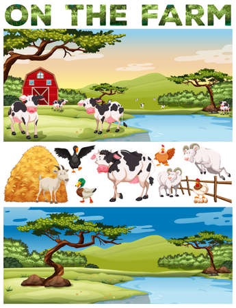 Farm theme with farm animals and farmland illustration Illustration