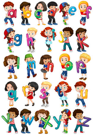 boy child: Children holding english alphabets illustration Illustration
