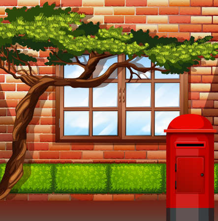 brick road: Outside of apartment building illustration Illustration