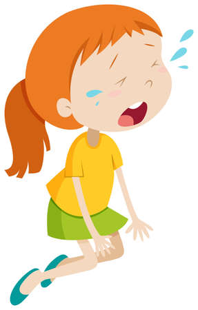 is upset: Little girl crying alone illustration Illustration