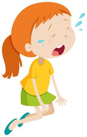 lesionado: Niña llorando sola ilustración