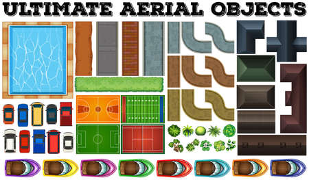 cement court: Ultimate aerial objects in set illustration