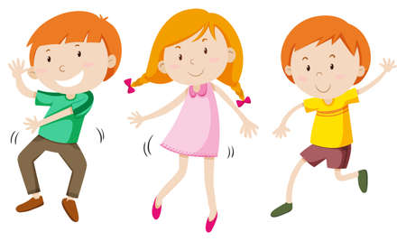 adolescent boy: Boys and girl dancing illustration
