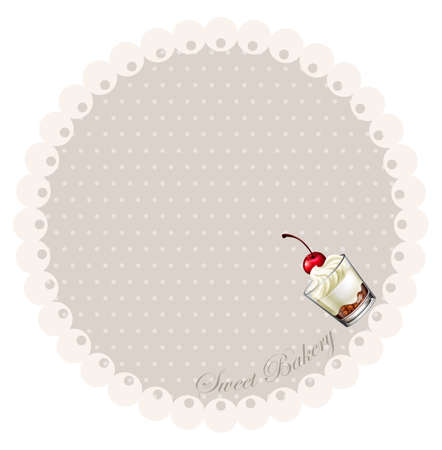 cherries isolated: Border design with cake in glass illustration Illustration