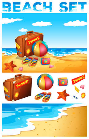 sandles: Vacation theme on the beach illustration