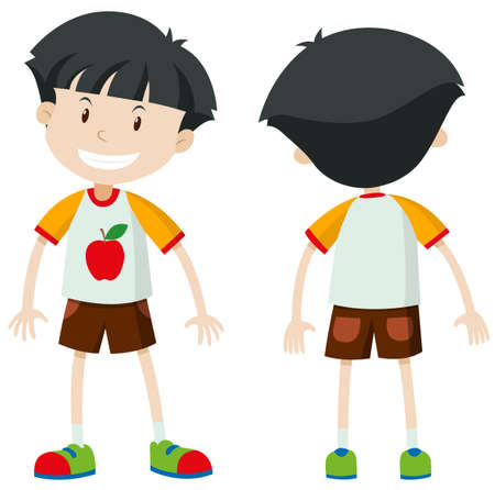 Front and back of a boy illustration Illustration