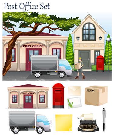 Poczta i obiektów pocztowych ilustracji