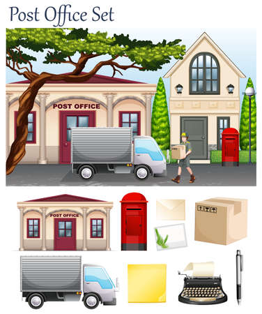 post office: Post office and postal objects illustration