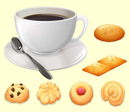 food clipart: Cup of coffee and cookies illustration