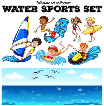 water sports: Different kind of water sports illustration