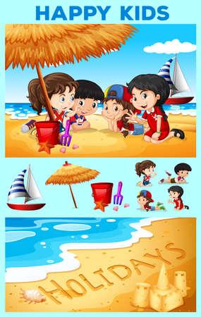 girls at the beach series: Children having fun on the beach illustration Illustration