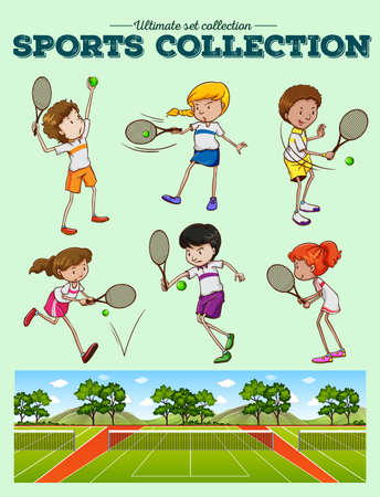 women working out: Tennis players and tennis courts illustration
