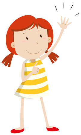 arm up: Girl having left arm up illustration