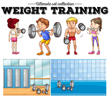 man working out: Weight training and gym illustration Illustration