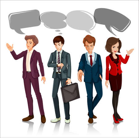 multiple image: People with speech bubbles illustration