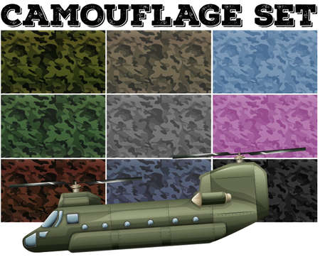 hovercraft: Camouflage set with military theme illustration