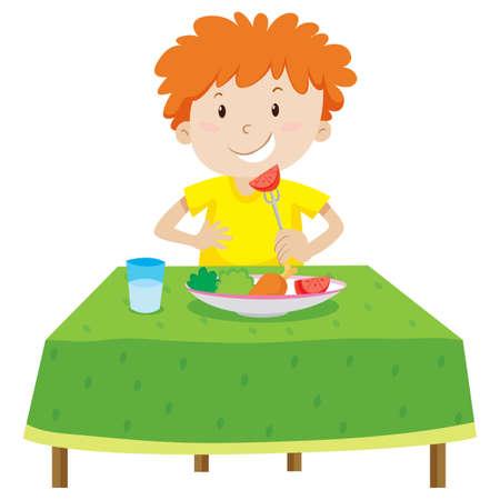テーブルのイラストを食べる少年