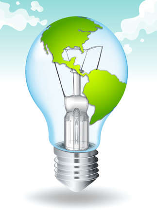 greenhouse effect: Save energy with earth and light illustration Illustration