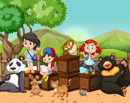 zoo youth: Children and wild animals outside illustration Illustration