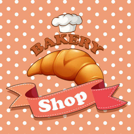 croissant: Bakery sign with croissant and text illustration