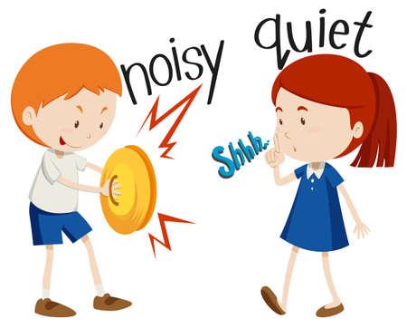 noisy: Opposite adjectives noisy and quiet illustration