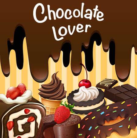 pastel de chocolate: Diferentes tipos de postres de chocolate ilustración