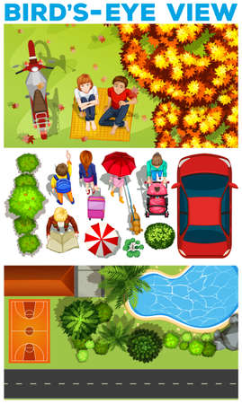 birds eye view: People in the park  illustration