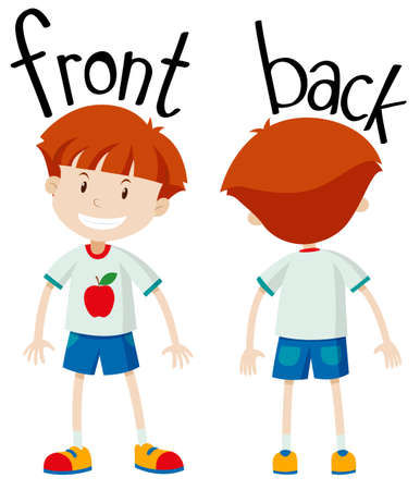 adjective: Little boy front and back illustration