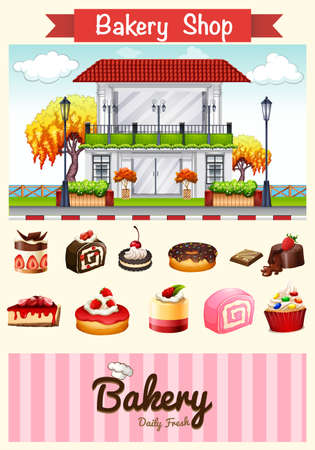 bakery store: Bakery shop and desserts illustration