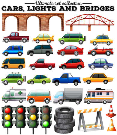 objects: Different kind of cars and objects on road illustration