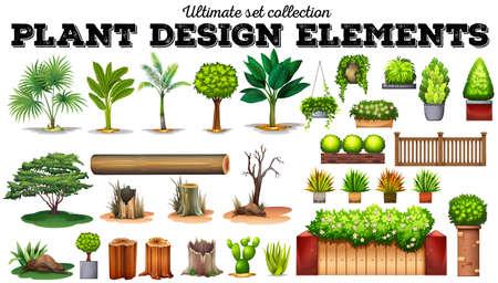 albero da frutto: Molti tipi di piante illustrazione Vettoriali
