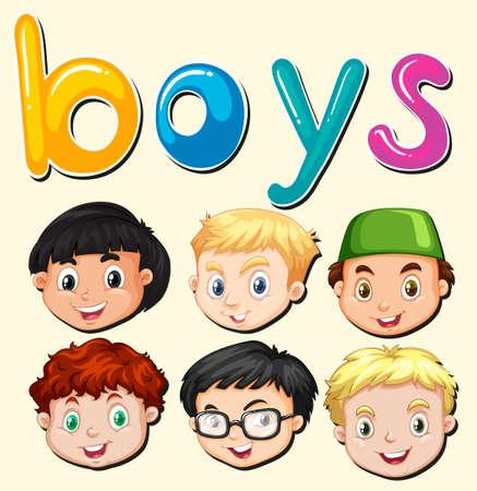 little boys: Little boy smiling face illustration Illustration