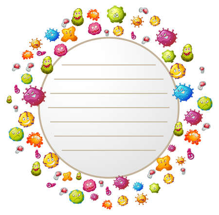 bacteria: Border design with bacteria illustration