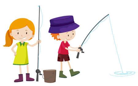 Fishing pole: Boy and girl fishing illustration