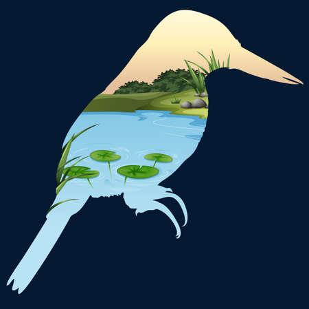 ponds: Save wildlife theme with bird and pond illustration