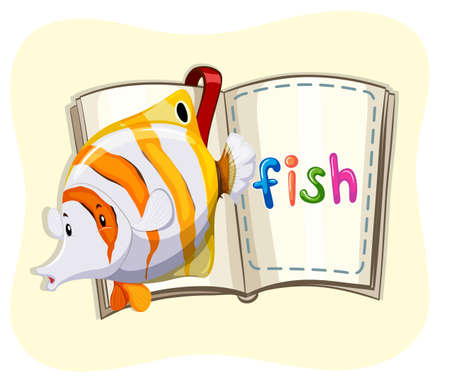 sea creatures: Ocean fish and a book illustration