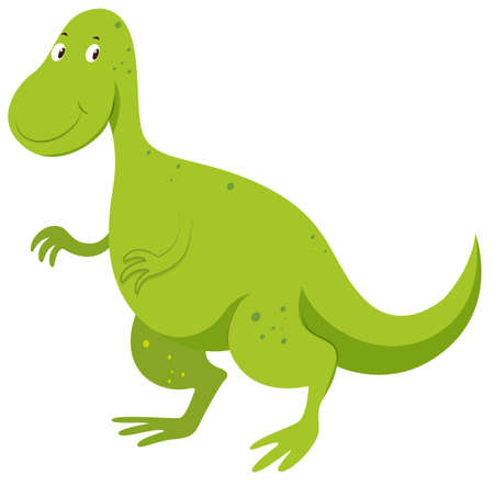 extinction: Green dinosaur with happy face illustration Illustration