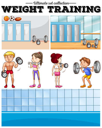 weight room: People doing weight training and locker room illustration