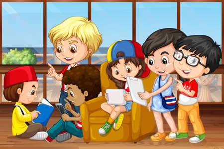 children room: Children reading and working in group illustration