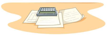 schoolwork: Documents and calculator on desk illustration Illustration