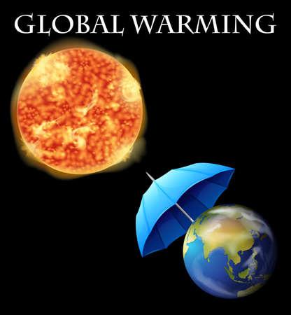 지구와 우산 일러스트와 지구 온난 화 테마 일러스트