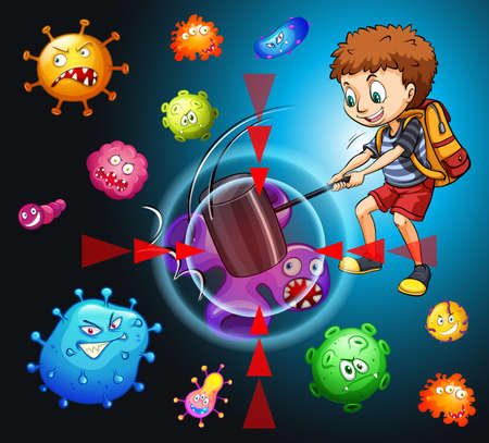 animal fight: Boy fighting with bacteria illustration
