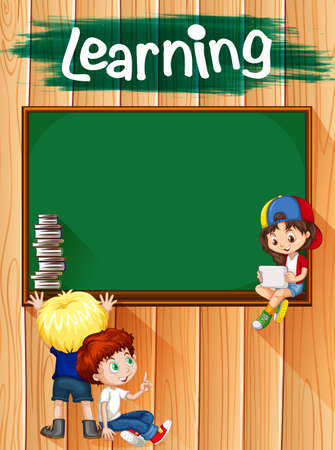 children drawing: Children and blackboard on the wall illustration