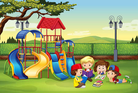 education cartoon: Children reading in the park illustration